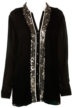 Black shirt with embroidered placket by ROHIT GANDHI AND RAHUL KHANNA. Shop now at perniaspopupshop.com