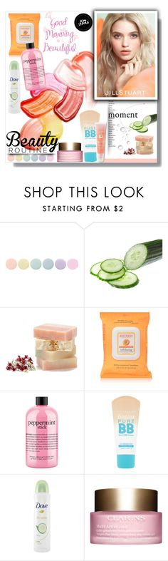 """What's Your Morning Beauty Routine?"" by sharoncrotty ❤ liked on Polyvore featuring beauty, Deborah Lippmann, Burt's Bees, philosophy, Maybelline, Dove, Clarins, Jill Stuart, Lancôme and beautyroutine"