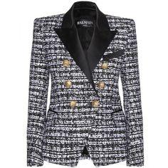 Balmain Structured Blazer ($1,250) ❤ liked on Polyvore featuring outerwear, jackets, blazers, balmain, black, balmain blazer, structured jacket, balmain jacket, structured blazer and black jacket