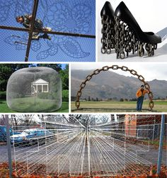 Heavy metal art - chain link turned into creative installations and sculptures.