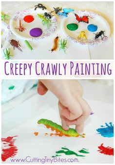 Creepy Crawly Bug Painting.  Easy process art painting project for kids.  Great for insect theme preschool unit.