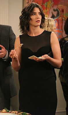 Robin's black sheer dress with peplum waist on How i Met Your Mother Curly Hair Cuts, Curly Hair Styles, Sheer Dress, Peplum Dress, Robin Scherbatsky, Big Hair Dont Care, Cobie Smulders, How I Met Your Mother, Love Hair