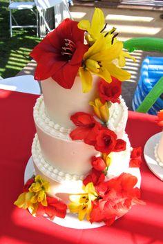Tropical Buttercream Wedding Cake