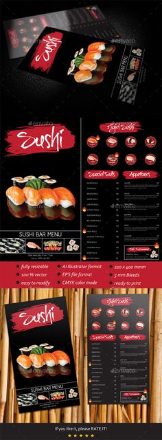 Sushi Bar Menu Template #design Download: http://graphicriver.net/item/sushi-bar-menu-template/7372303?ref=ksioks