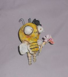 the Queen BEE Ooak spun cotton ornie by papermoongallery on Etsy, $35.00