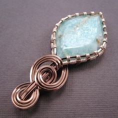 wire wrap a cabachon | Wire Wrapped Pendant Shimmering Amazonite Cabochon by UptightWanda, $ ...