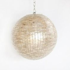 Gold Shimmer Geometric Round Pendant - contemporary - pendant lighting - - by The Well Appointed House Pendant Chandelier, Shell Pendant, Round Pendant, Contemporary Light Fixtures, Contemporary Pendant Lights, Home Lighting, Modern Lighting, Lighting Ideas, Bathroom Lighting