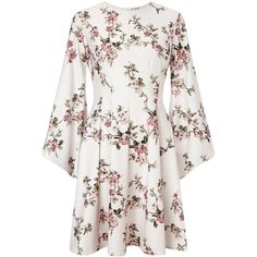 Miss Selfridge Cherry Blossom Dress ($70) ❤ liked on Polyvore featuring dresses, pink, full midi skirt, white midi dress, holiday dresses, pink cocktail dress and white evening dresses