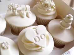 """#Wedding #Cupcakes-Could do lace like hearts with """"I Do"""" and """"Me too"""" messages."""