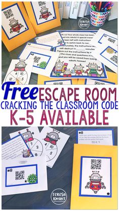 This is a free escape room game for your classroom! Games are available for kindergarten, Breakout Game, Breakout Edu, Breakout Boxes, Escape The Classroom, Escape Room For Kids, Fifth Grade, Second Grade, Escape Room Challenge, Fun Games For Kids