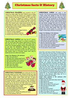 Christmas Facts & History worksheet - Free ESL printable worksheets made by teachers Christmas Trivia, Christmas Worksheets, Christmas History, Favorite Christmas Songs, Christmas Activities, Christmas Traditions, Kids Christmas, Christmas Games, Comprehension Exercises