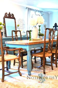Turquoise Farm House Dining Table by noteworthyhome on Etsy Farmhouse Table, Farmhouse Decor, Painted Table Tops, Dining Room Table, Kitchen Tables, Turquoise Table, Painted Furniture, Antique Furniture, Furniture Projects