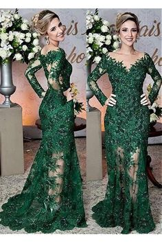 Fabulous Tulle Jewel Neckline Floor-length Mermaid Mother Of The Bride Dress With Lace Appliques & Beadings Abendkleider Ballkleider Long Sleeve Evening Dresses, Mermaid Evening Dresses, Evening Gowns, Evening Party, Ball Dresses, Ball Gowns, Prom Dresses, Formal Dresses, Formal Outfits