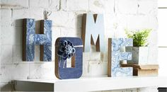 "Denim Embellished Letters from Michael's craft stores. I'm going to use these in our next home as a ""coming home"" gift for my son and me."
