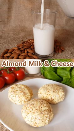 Almond Milk and Almond Pulp Cheese Recipes that use the pulp after making almond milk so nothing is lost vegan dairyfree healthy Almond Milk Recipes, Vegan Cheese Recipes, Homemade Almond Milk, Raw Vegan Recipes, Vegan Foods, Veggie Recipes, Healthy Recipes, Almond Cheese Recipe, Almond Milk Cheese