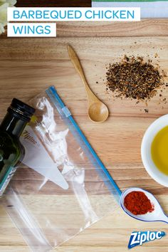 Barbequed Chicken Wings marinade recipe. Make on a Sunday and store it in a Ziploc® marinade bag to save time! On the morning of the day you know you want to grill, just throw your meat or vegetables in the bag and let them soak until it's time to cook. You can do it with just about any marinade, but this one's a favorite of ours.