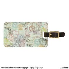 Shop Passport Stamp Print Luggage Tag created by stopnbuy. Personalized Luggage Tags, Custom Luggage Tags, Passport Stamps, Stamp Printing, Luggage Straps, Standard Business Card Size, Christmas Gifts For Kids, Leather Luggage, Travel Gifts