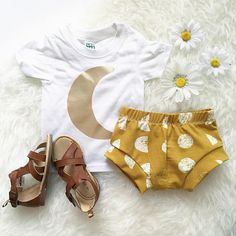 Bohemian Babies//Moonchild Collection//Gold moon on white