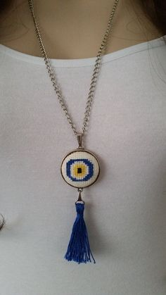 Cross stitch necklace, necklace, cross stitch jewelry, jewelry, Valentine's Day gift, embroidery necklace, evil eye necklace,