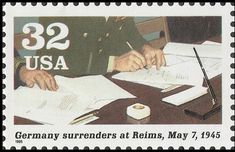 Stamp: World War II - Surrender At Reims (United States of America) (World War II) Mi:US 2621,Sn:US 2981f,Yt:US 2411