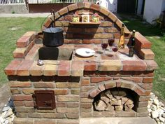 DecorHome Decor Project ideas and instructions . # fireplace - outdoor DecorHome Decor Project Ideas and Instructions … – outside area Backyard Bbq Pit, Backyard Kitchen, Outdoor Kitchen Design, Summer Kitchen, Backyard Landscaping, Outdoor Oven, Outdoor Fire, Outdoor Cooking, Outdoor Decor