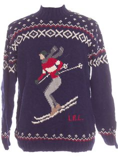 An Ugly Christmas sweater with a man skiing from TheSweaterStore.com!