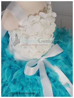 Feather Dress Tiffany Blue Tutu Dress  by threadedcreations, $140.00