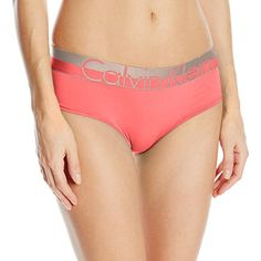 063083dab634 Calvin Klein Women's Magnetic Force Hipster Panty, Poise Heather, Small  Dual color wide metallic logo waistband Cotton gusset Tag less
