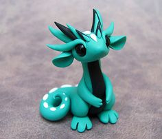 Teal and Black Scrap Dragon on Etsy, Sold