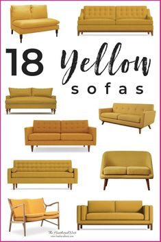 A Yellow Sofa Shopping Guide. 18 of the loveliest yellow sofas available. We scoured dozens of retailers to pull together this yellow couch collection. If you're in the market for a mustard sofa, gold loveseat or settee, you'll find it here! Living Room Decor Colors, Living Room White, Living Room Paint, Living Room Sofa, Living Room Furniture, Living Rooms, Sofa Furniture, Brown Furniture, Office Furniture