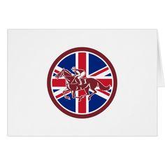 British Jockey Horse Racing Union Jack Flag Card #cards #christmascard #holiday