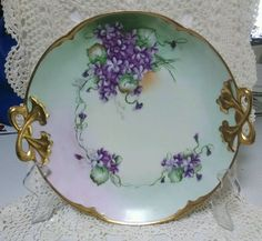 Bavarian China Hand Painted Signed Charger #AliceJHRBavaria