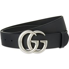 Gucci GG buckle leather belt (450 AUD) ❤ liked on Polyvore featuring accessories, belts, leather buckle belt, real leather belts, 100 leather belt, studded belt and studded leather belt