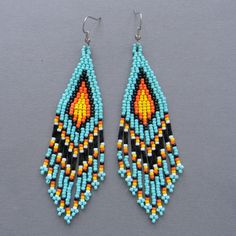 Turquoise Native American Style Long Seed Bead by Anabel27shop, $16.00