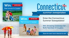 Win fabulous vacation getaways for both couples and families! Enter the 2013 Connecticut Summer Sweepstakes today and you could be packing tomorrow!