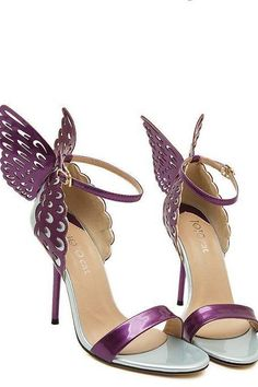 89b27a11785e Gorgeous Purple Butterfly Wings High Heels Fashion Shoes