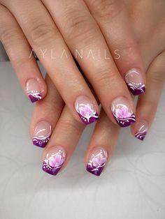 french nails for wedding Short Hair Nail Art Violet, Purple Nail Art, Purple Nail Designs, Nail Designs Spring, Toe Nail Designs, Pink Nails, Pink Purple, Pink French Manicure, French Nail Art