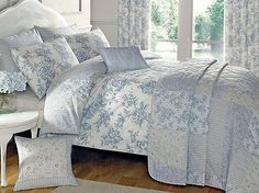 Blue quilt #duvet #cover & #bedding set vintage traditional reversible toile uk n,  View more on the LINK: 	http://www.zeppy.io/product/gb/2/271929674740/