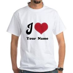 Cafepress Personalized Red Heart White T-Shirt, Size: 2XLarge (+$3.00)