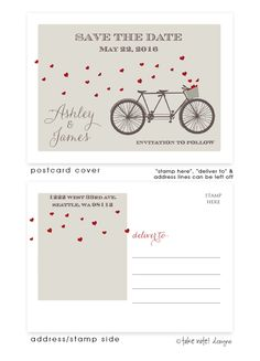 Tandem Bike Hearts Postcard Save the Date #heart