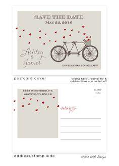 Tandem Bike Hearts Postcard Save the Date #heart