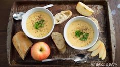 Brie and cheddar make this cheesy slow cooker apple cider soup a decadent meal for fall
