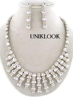 only 1 left in stock!! 26.65$ only Formal Clear Acrylic Crystal Silver Tone Statement Costume Jewelry Necklace Set