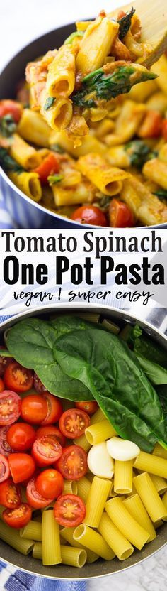 This vegan one pot pasta with spinach and tomatoes is super easy to make and so incredibly creamy and delicious! It's one of my favorite vegan dinners for busy weeknights! Find more vegan recipes at veganheaven.org