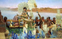 The finding of Moses 1877  By Sir Lawrence Alma-Tadema  ( Dutch born, British painter,1836 - 1912)  Oil on canvas 136.7 × 213.4 cm .  Egypt - Old Cairo Paintings