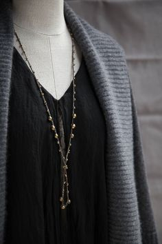 Lichen Green Silk Crochet LariatNecklace with Ethiopian Brass Beads • Designed by Kelli Ronci