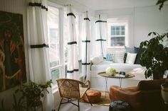Must-Haves a California Eclectic Home Interior Design — Fres Hoom Ikea Curtains, Green Curtains, Rustic Curtains, Colorful Curtains, White Curtains, Striped Curtains, Roman Curtains, French Curtains, Farmhouse Curtains