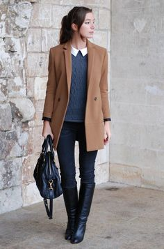 Pull et slim Zara (collection actuelle) / bottes vintage / sac Marc by Marc Jacobs / manteau The kooples Office Outfits, Casual Outfits, Fashion Outfits, Sweater Outfits, Fall Winter Outfits, Autumn Winter Fashion, Looks Style, Work Attire, Mode Inspiration