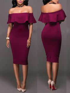 Off Shoulder Frill Bodycon Midi Dress