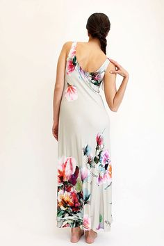 Cream Floral Maxi Dress Summer Maxi Dresses Digital by eeshadesign